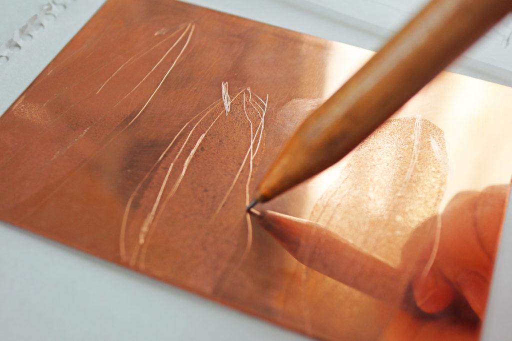 【銅版画の作り方 技法 その⑦】描いた線が「にじむ?」ドライポイント(drypoint) で作ってみよう